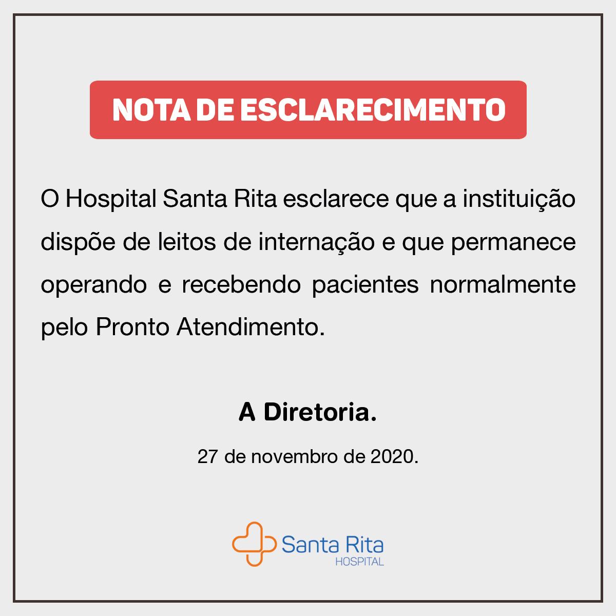 Nota de Esclarecimento – Leitos HSR (27/11/20)