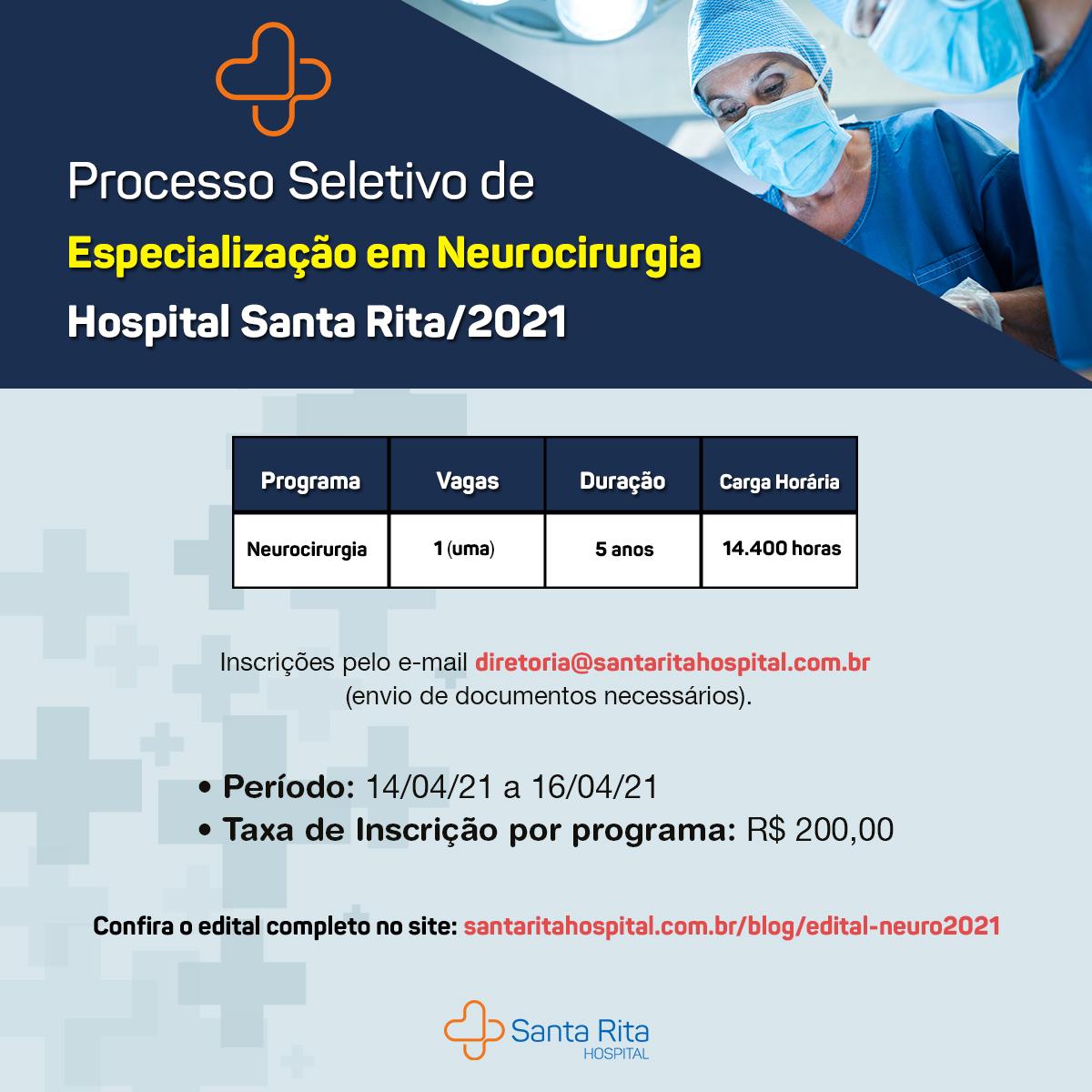 [Atualizado – 19/04] Edital de Convocação para o processo seletivo de Especialização em Neurocirurgia – 2021